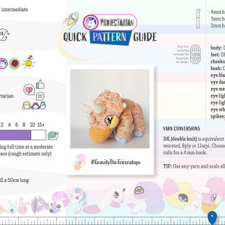 Quick Pattern Guide | Gravity the Triceratops by Projectarian