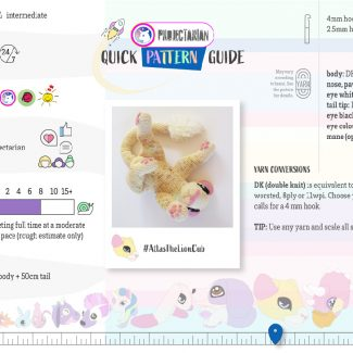 Quick Pattern Guide | Atlas the Lion Cub by Projectarian