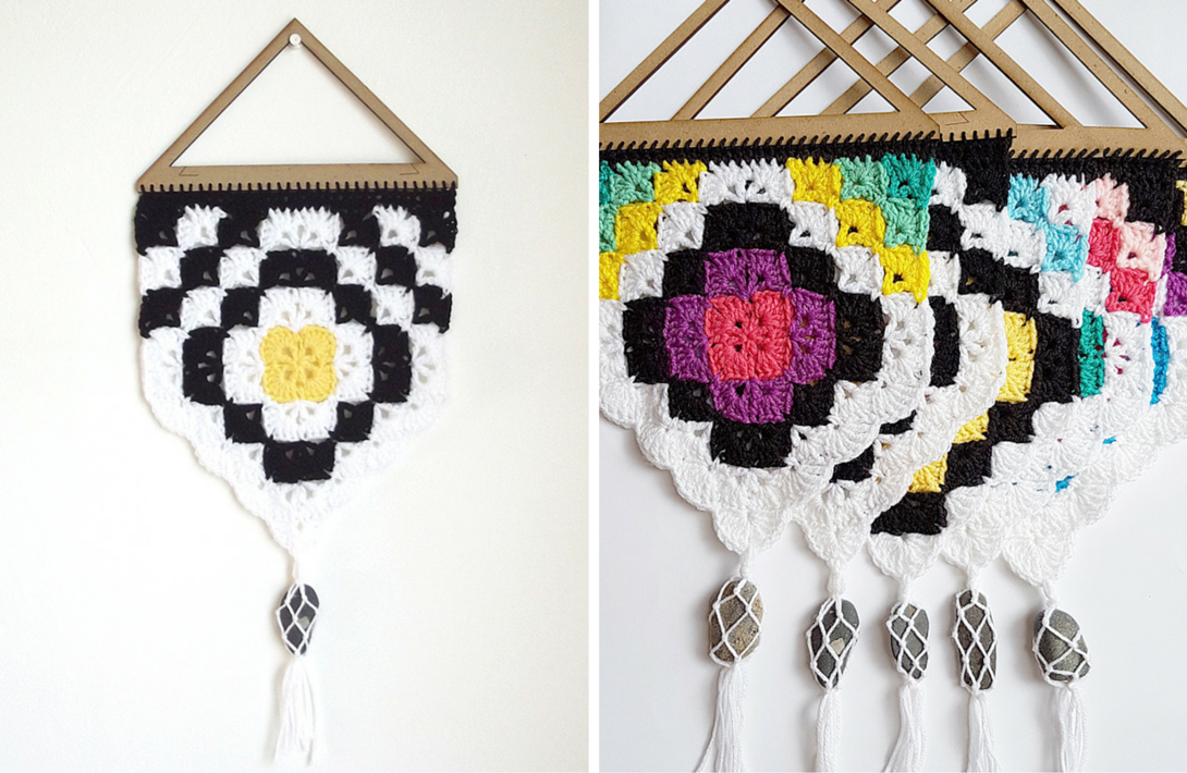 Beautiful, Easy & Free crochet pattern: tribal wall hanging. design.https://www.projectarian.com/2016/05/13/project-019-tribal-wall-hanging-free-pattern/
