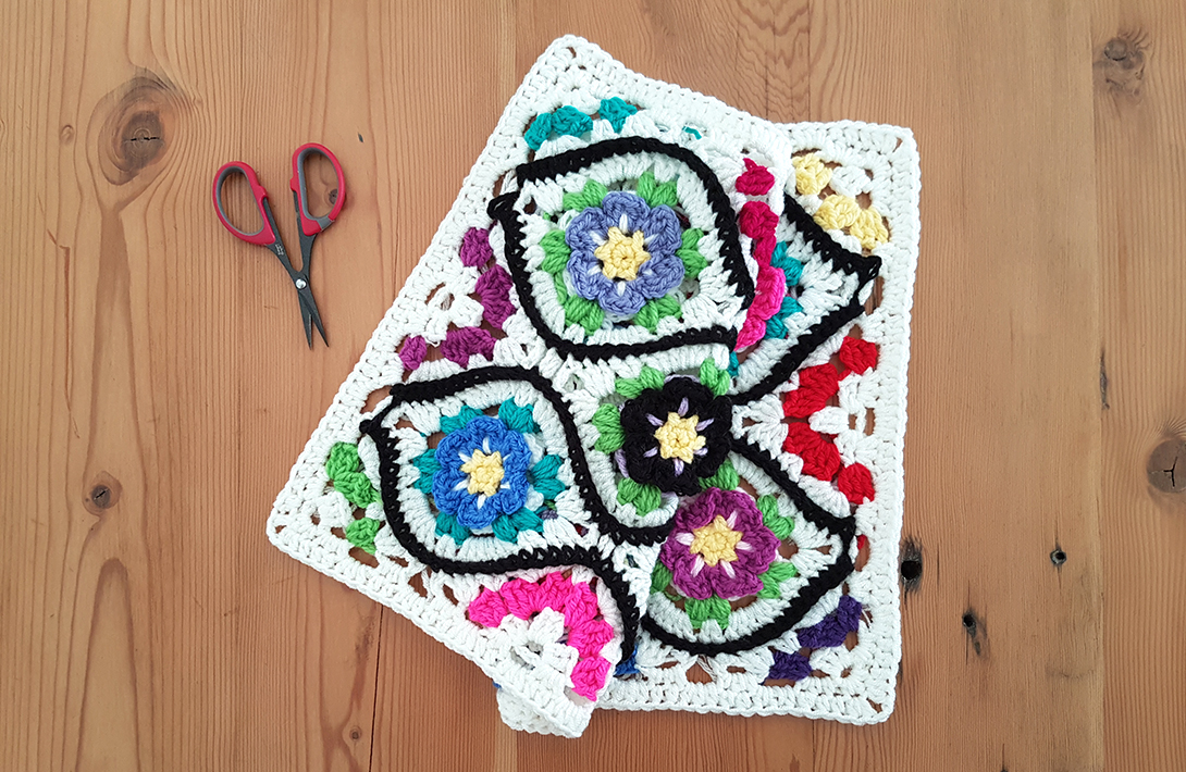 Moroccan Garden: Free crochet pattern for a floral tile with halves and quarter pieces for squaring off. Make blankets, throws, afghans, scarves, bags, shawls - anything!