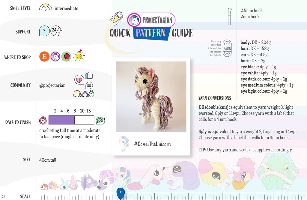 Quick Pattern Guide | Comet The Unicorn by Projectarian